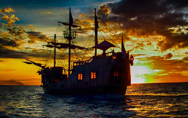 Pirate Boat in Cabo San Lucas names Buccaneer Queen during Sunset