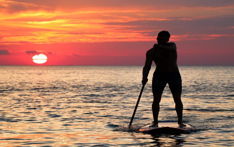 Couple of guys playing on their SUP,s