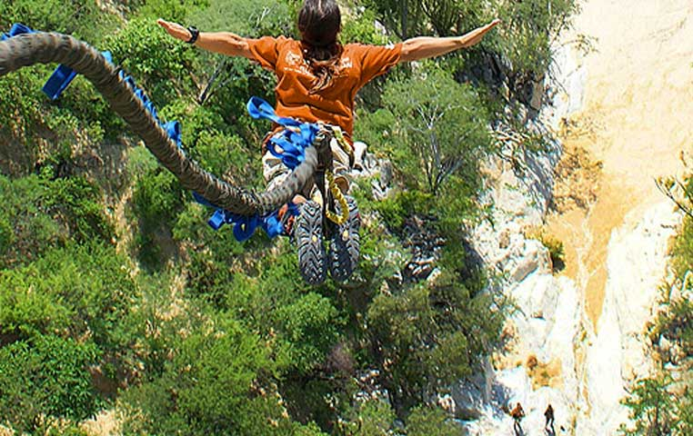 Point of view falling into the Wild Canyon on a Bungee Line in Cabo